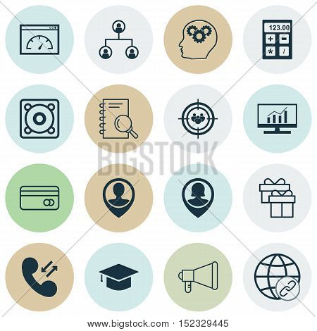 Set Of 16 Universal Editable Icons For Advertising, Human Resources And Marketing Topics. Includes I