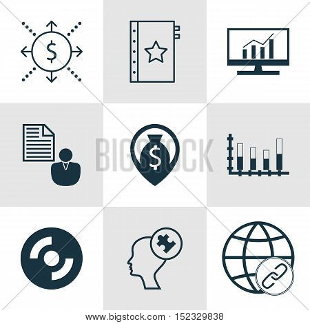 Set Of 9 Universal Editable Icons For Business Management, Advertising And Project Management Topics