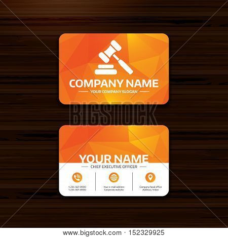 Business or visiting card template. Auction hammer icon. Law judge gavel symbol. Phone, globe and pointer icons. Vector