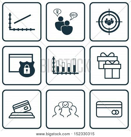 Set Of 9 Universal Editable Icons For Business Management, Seo And Statistics Topics. Includes Icons