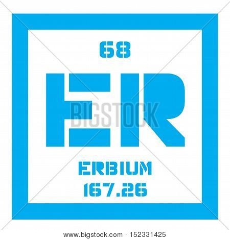 Erbium chemical element. Colored icon with atomic number and atomic weight. Chemical element of periodic table.