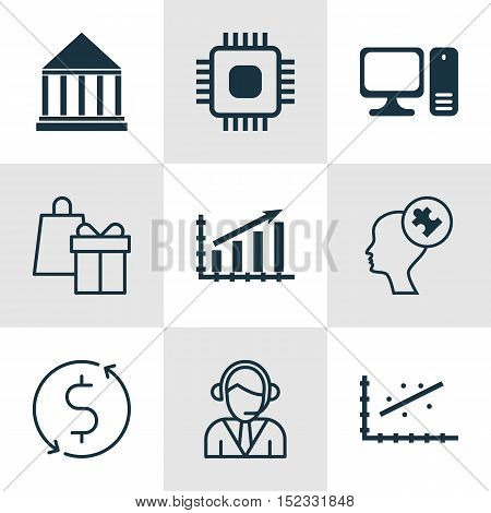 Set Of 9 Universal Editable Icons For Business Management, Education And Statistics Topics. Includes