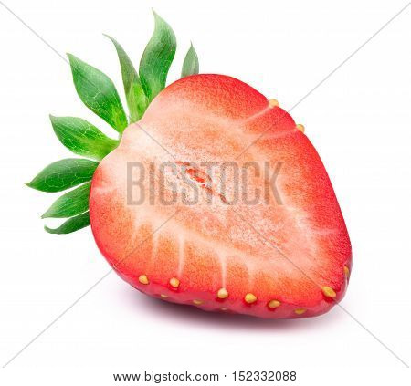 Perfectly retouched sliced strawberry with leaves isolated on the white background with clipping path