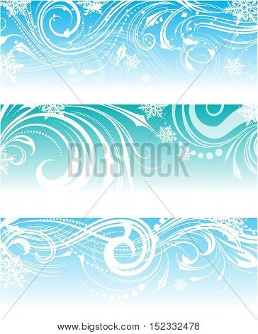 Set of banners with frosty ornament