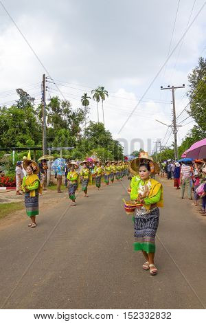 SISAKETTHAILAND. On October 1 2016 in rural northeastern province of Sisaket Lady dancing in traditional Sart Thai. SART THAI is an important tradition of rural Thailand.