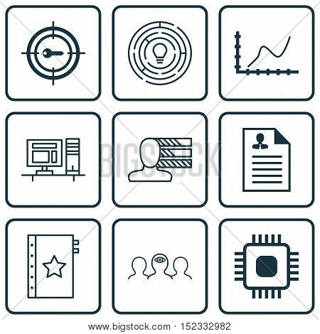 Set Of 9 Universal Editable Icons For Project Management, Human Resources And Computer Hardware Topi