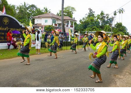 SISAKETTHAILAND. On October 1 2016 in rural northeastern province of Sisaket Lady dancing in traditional Sart Thai. SART THAI is an important tradition of people rural Thailand.