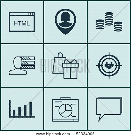 Set Of 9 Universal Editable Icons For Statistics, Advertising And Seo Topics. Includes Icons Such As