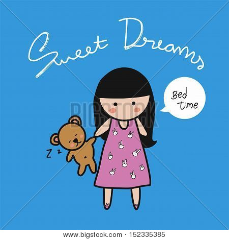 Sweet dream girl with bear doll cartoon illustration