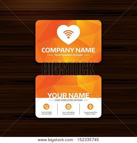 Business or visiting card template. Love Wifi sign. Wi-fi symbol. Wireless Network icon. Wifi zone. Phone, globe and pointer icons. Vector