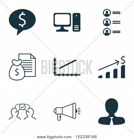 Set Of 9 Universal Editable Icons For Human Resources, Project Management And Advertising Topics. In