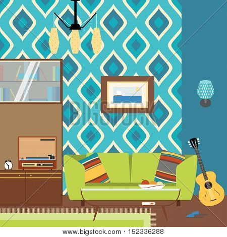 Vector living room interior with bookcase table sofa guitar and player in the style of 70's.