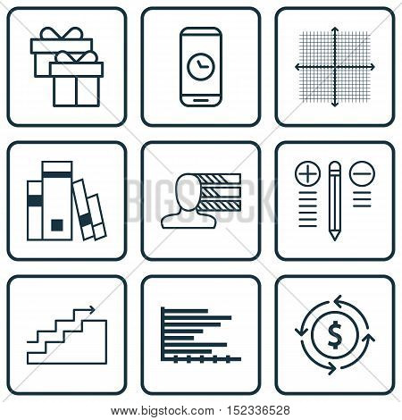 Set Of 9 Universal Editable Icons For Project Management, Travel And Education Topics. Includes Icon