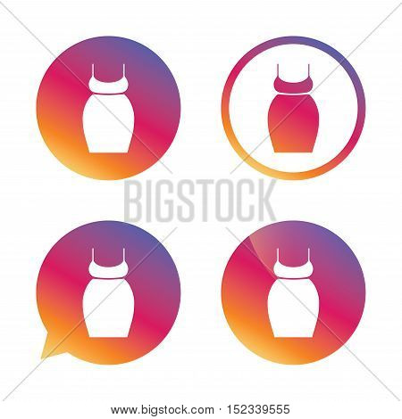 Pregnant woman dress sign icon. Maternity clothing symbol Gradient buttons with flat icon. Speech bubble sign. Vector