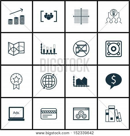 Set Of 16 Universal Editable Icons For Advertising, Business Management And Project Management Topic