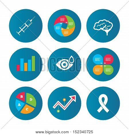 Business pie chart. Growth curve. Presentation buttons. Medicine icons. Syringe, eye with drop, brain and ribbon signs. Breast cancer awareness symbol. Human smart mind. Data analysis. Vector