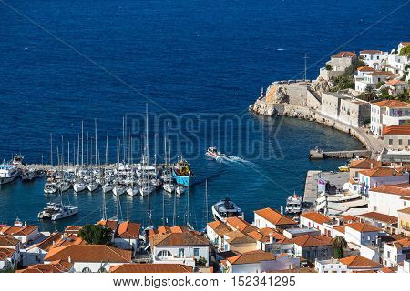 Top view of the yacht Marina of Hydra island, Greece.