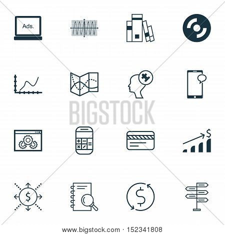 Set Of 16 Universal Editable Icons For Business Management, Statistics And Education Topics. Include