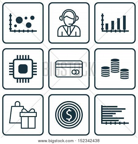 Set Of 9 Universal Editable Icons For Computer Hardware, Statistics And Human Resources Topics. Incl