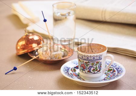 Concept Of Turkish Coffee. Turkish Delight On Authentic Plate