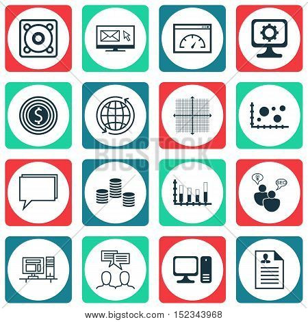 Set Of 16 Universal Editable Icons For Statistics, Project Management And Computer Hardware Topics.