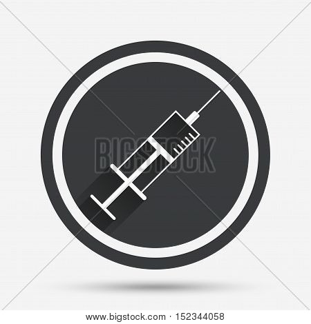 Syringe sign icon. Medicine symbol. Circle flat button with shadow and border. Vector