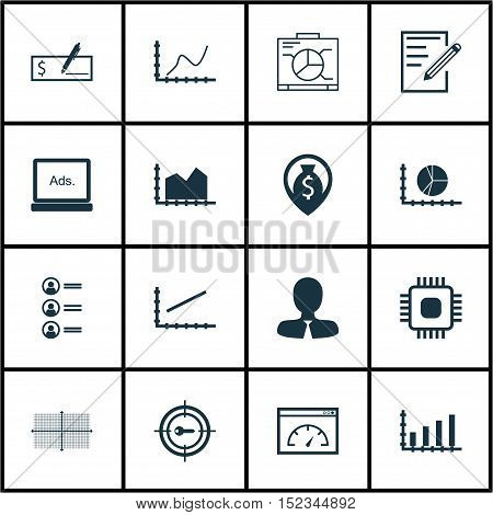 Set Of 16 Universal Editable Icons For Human Resources, Seo And Statistics Topics. Includes Icons Su