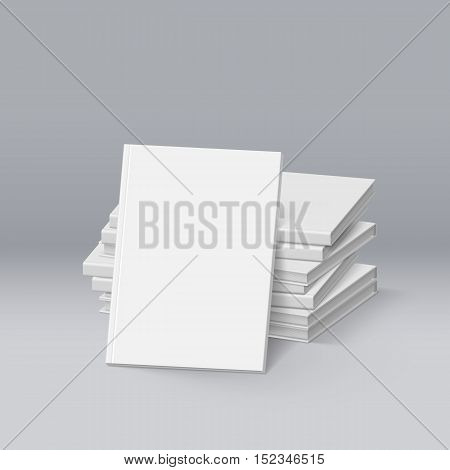 Stack of Blank White Books. Mockup Template for Design