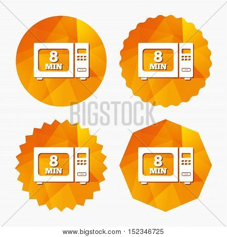 Cook in microwave oven sign icon. Heat 8 minutes. Kitchen electric stove symbol. Triangular low poly buttons with flat icon. Vector