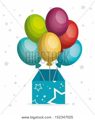 Wonder box with balloons vector illustration design