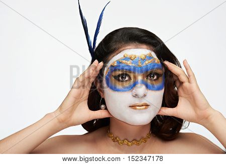 Woman Hold Mask