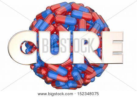 Cure Pills Medicine Research End Disease Sphere 3d Illustration