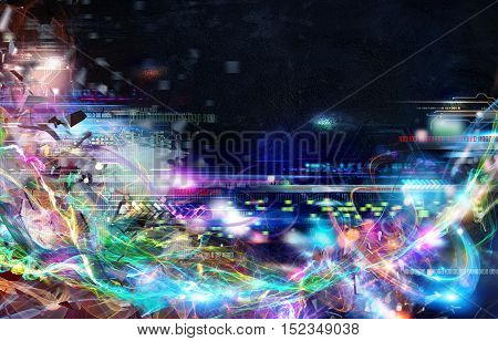 Futuristic technology background. Global internet connection and streaming concept
