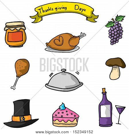 Doodle of thanksgiving icon vector art illustration