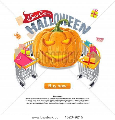 Halloween sale pumpkin lantern icons, buy now discount, Vector illustration in flat, cartoon style isolated from the background shopping cart