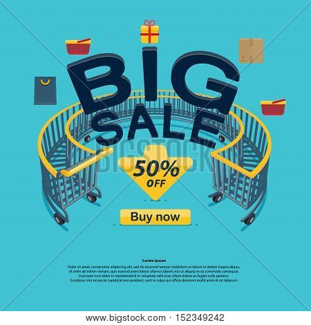 Big sale icons buy now discount, Vector illustration in flat cartoon style isolated from the background shopping cart on blue