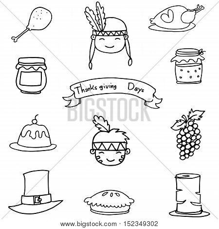 Icon thanksgiving element on doodles vector illustration