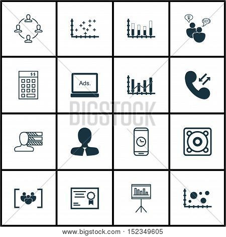Set Of 16 Universal Editable Icons For Seo, Computer Hardware And Human Resources Topics. Includes I