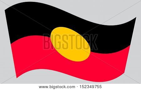 Australian Aboriginal official flag. Commonwealth of Australia patriotic symbol banner element background. Correct colors. Australian Aboriginal flag waving on gray background vector