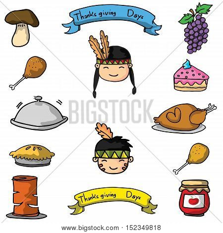 Doodle of thanksgiving set theme vector art