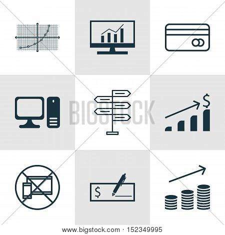 Set Of 9 Universal Editable Icons For Project Management, Computer Hardware And Statistics Topics. I
