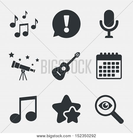 Music icons. Microphone karaoke symbol. Music notes and acoustic guitar signs. Attention, investigate and stars icons. Telescope and calendar signs. Vector