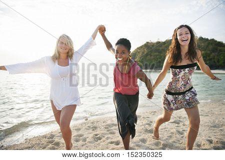 Girl Women Beach Friendship Holiday Leisure Concept