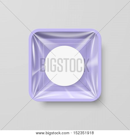 Empty Purple Plastic Food Square Container with Round Label