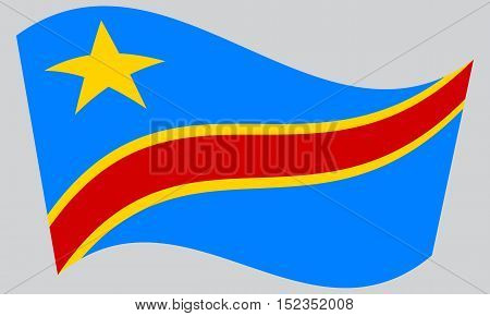 DR Congo national official flag. African patriotic symbol banner element background. Correct colors. Flag of Democratic Republic of the Congo waving on gray background vector