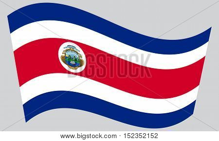 Costa Rican national official flag. Patriotic symbol banner element background. Correct colors. Flag of Costa Rica waving on gray background vector