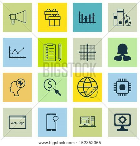 Set Of 16 Universal Editable Icons For Airport, Business Management And Advertising Topics. Includes