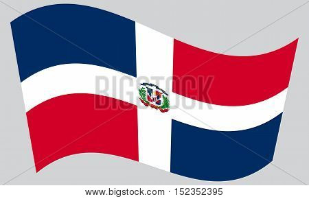 Dominican Republic national official flag. Patriotic symbol banner element background. Correct colors. Flag of Dominican Republic waving on gray background vector