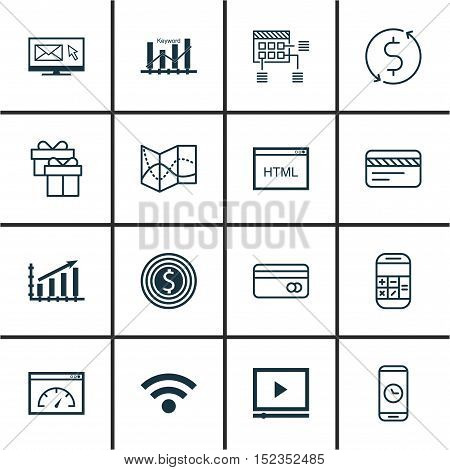 Set Of 16 Universal Editable Icons For Human Resources, Computer Hardware And Advertising Topics. In