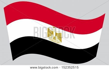 Egyptian national official flag. Arab Republic of Egypt patriotic symbol banner element background. Correct colors. Flag of Egypt waving on gray background vector